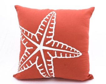 Starfish Pillow Cover, Nautical Pillow Case, Orange Linen White Starfish, Coastal decor, Cottage Beach Decor, Decorative Pillow for couch