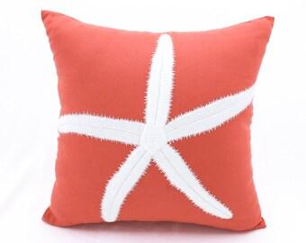 Starfish Pillow Case, Nautical pillow, Coral Linen White Starfish Embroidery, Cottage Beach Decor, Coastal Decor, Sea Life ThrowPillow