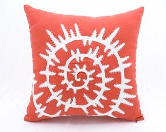 Sea Shell Pillow Cover, Orange Linen White Sea Shell Embroidery, Nautical Pillow Case, Sea Life Decor, Coastal Pillow, Beach House Decor