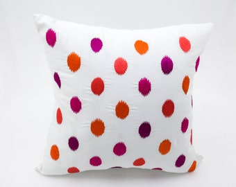 Ikat Dot Throw Pillow Cover, White Linen Ikat Embroidery, Modern Pillow, Home Decor, Ikat Pillow Shams, Decorative pillow for couch
