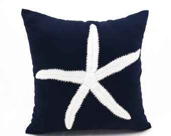Decorative pillow for couch, Starfish embroidery design, Nautical throw pillow,navy pillow cover,, beach house decor,embroidery pillow