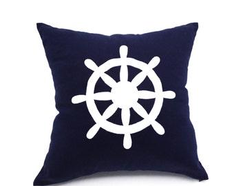 Navy Blue Decorative Pillow Cover, Ship Wheel Throw Pillow,  Navy Blue Linen White Wheel Embroidery, Nautical Pillow, Sailing Decor