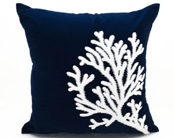 Coral Pillow Case, Navy Blue Linen White Coral Embroidery,Throw pillow cover, Nautical Pillow, Beach House Decor, Cottage Decor, Home Accent