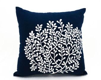 Navy Pillow Cover, Coral pillow cover, Nautical throw pillow. embroidered pillow cases, Coral Home decor, Coastal Beach Decor, House decor