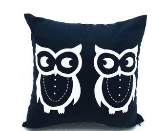 Owl Pillow Case, Navy Blue Pillow Owl Embroidery, Decorative Throw Pillow Cover, Bird Pillow, Owl Decor, Animal Pillow, Home Accent, Cushion