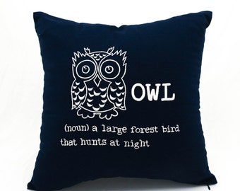 Owl Pillow Cover, Navy Blue Linen Pillow White Owl Embroidery, Owl Decor, Bird Pillow, Pillow Accent, Home Decor, Couch Pillow, Cushion