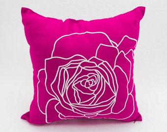 Fuchsia Pink Flower Pillow Cover, Decorative Throw Pillow Cover, Fuchsia Pink White Rose, Embroidered Pillow Accent, Cushion, Couch Pillow