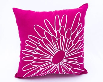 Fuchsia Pink Flower Pillow Cover, Fuchsia Pink Linen White Floral Embroidery, Floral Pillow Case, Modern Couch Pillow, Embroidered Floral