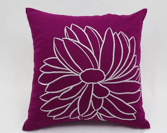 Purple Throw Pillow Cover, Dark Purple Linen Silver Gray Flower, Embroidered, Floral Purple Pillow, Home Decor, Square Pillow Case, Cushion