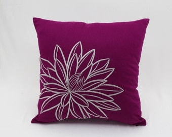 Decorative Pillow Cover, Throw Pillow, Pillow Case, Dark Purple Linen Pillow, Gray Silver Lotus, Embroidered, Pillow Accent , Cushion Cover