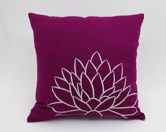 Purple Flower Decorative Pillow Cover, Dark Purple Linen Pillow Gray Silver Floral Embroidery, Flower Pillow Accent, Modern Cushion Cover