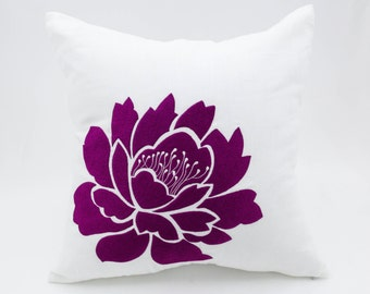 Purple Flower Pillow Cover, White Linen Deep Purple Floral Embroidered Pillow, Decorative pillow for couch, Linen Pillow Case