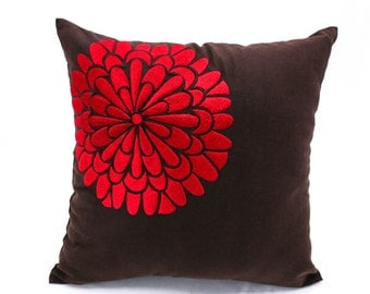 Red Pillow cover, floral pillow, flower embroidery, decorative pillow, red cushion, throw pillow, couch pillow, brown pillow, linen pillow