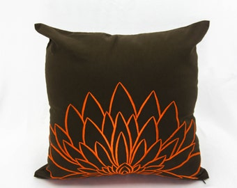 Orange Flower Pillow Cover, Embroidered Pillow, Dark Brown Linen Orange Sunflower Embroidery, Floral Couch Pillow, Home Decor, Throw Pillow