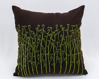 Grass Throw Pillow Cover, Dark Brown Linen Lime Green Grass Embroidery, Floral Pillow Case, Brown Couch Pillow, Brown Green Cushion