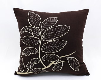 Brown Pillow Cover, Leaves Throw Pillow Cover, Dark Brown Linen Beige Leaves, Home Decor, Floral Couch Pillow, Embroidered Cushion Cover