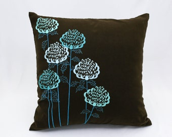 Teal Throw Pillow Cover, Teal floral embroidery on Dark Brown Linen Pillow, Flower Toss Pillow, Home Decoration, Cushion Cover