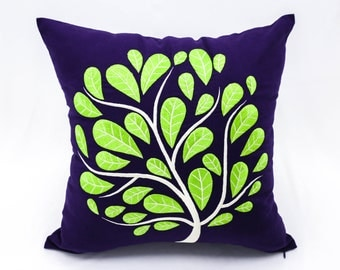 Dark Purple Linen Pillow Cover Green Peacock Tree Embroidery, Cushion Cover, Couch Pillow, Floral Pillow Case, Embroidered Throw Pillow