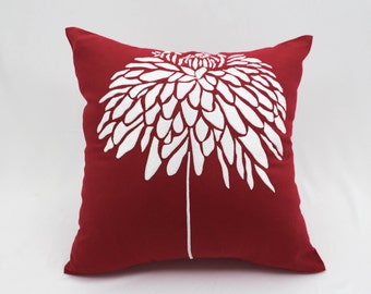 White Flower Pillow Cover, Red Linen Pillow White Peony Embroidery, Accent Pillow, Home Decor, Modern Contemporary Pillow,Red Floral Cushion