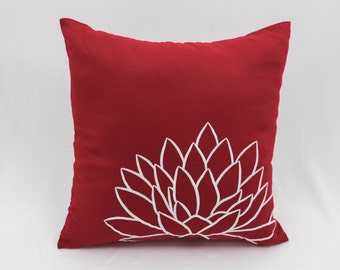 Red White Pillow Cover, Throw Pillow Cover, Decorative Pillow, Lotus Embroidery, Cushion Cover, Red Pillow Case, Pillow Accent, Linen Pillow