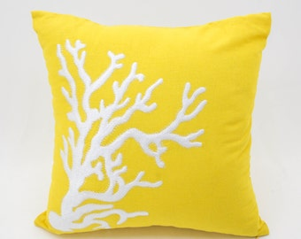 Coral Pillow Cover,Throw Pillow Cover, Decorative Pillow, Yellow Linen Pillow, White Coral, Embroidered Pillow, Nautical Pillow Case,Cushion