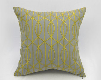 Trellis Decorative Pillow Cover, Gray Linen Golden Yellow Trellis, Embroidered pillow, Modern contemporary decor, Home Accent, geometric