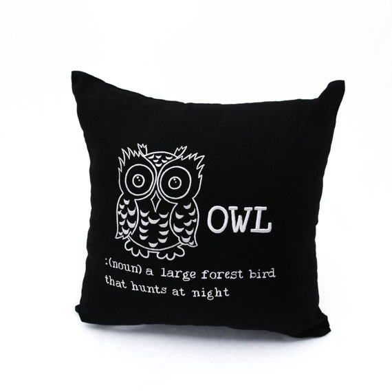 Owl Throw Pillow Covers : OWL Throw Pillow Cover Black Linen Gray Owl Embroidery Bird