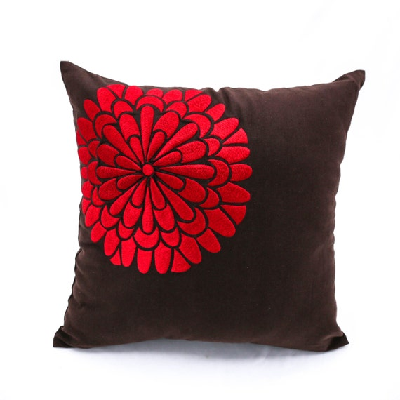 Red Floral Decorative Pillow Cover Dark Brown Linen Red