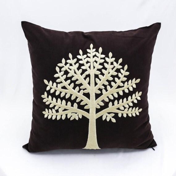 Dark Brown Decorative Pillow : Tree Decorative Pillow Cover Dark Brown Linen Pillow Cream