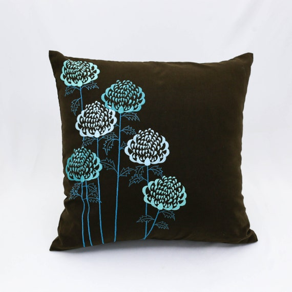 Teal Throw Pillow Cover Teal floral embroidery on Dark Brown