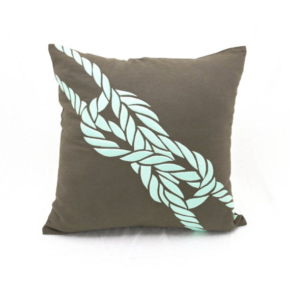 Rope Throw Pillow Cover Nautical Decor Taupe Brown Linen