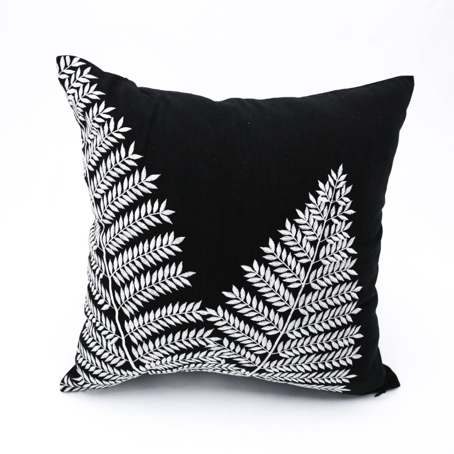black white pillow cover fern throw pillow cover black linen. Black Bedroom Furniture Sets. Home Design Ideas