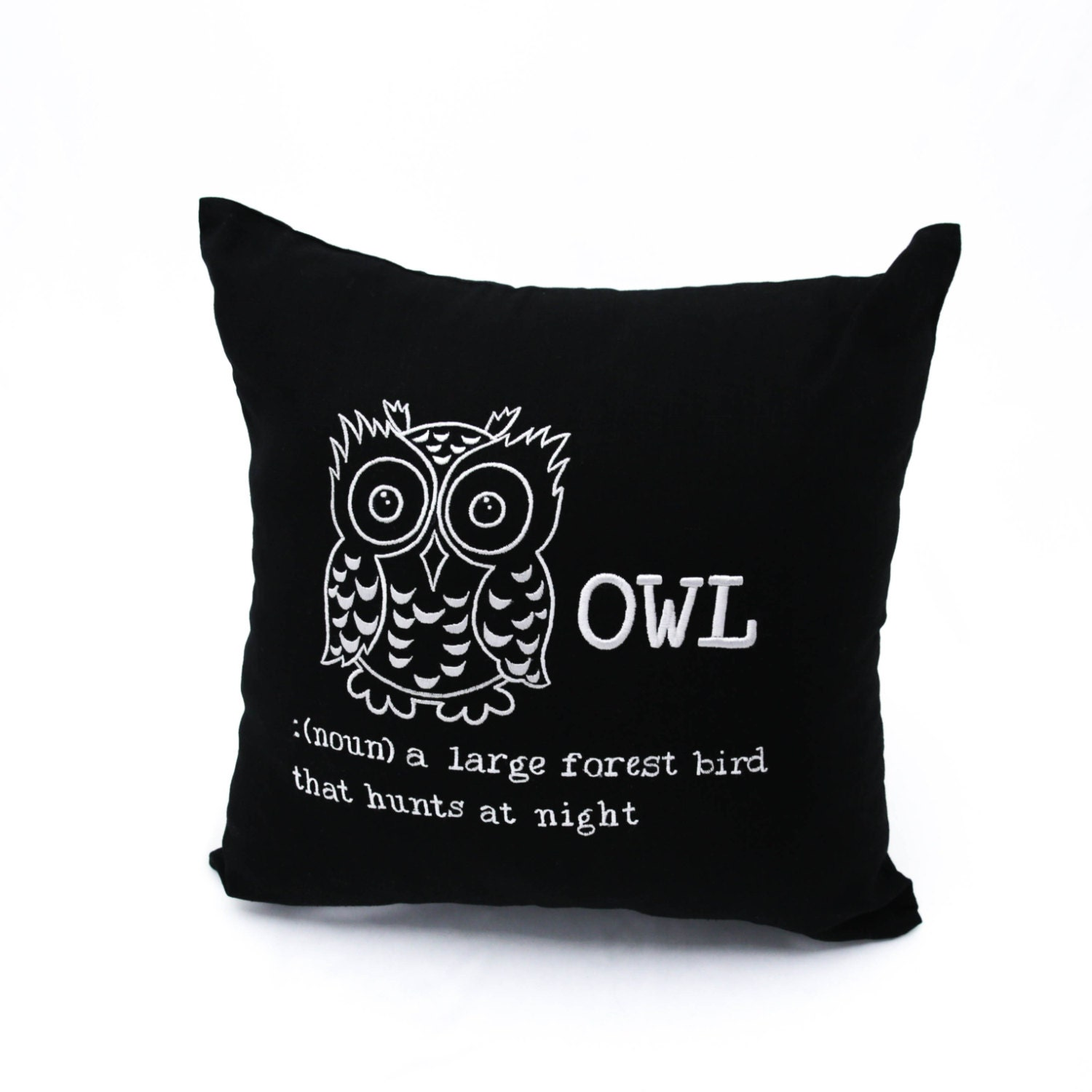 Owl Throw Pillow Etsy : OWL Throw Pillow Cover Black Linen Gray Owl Embroidery Bird