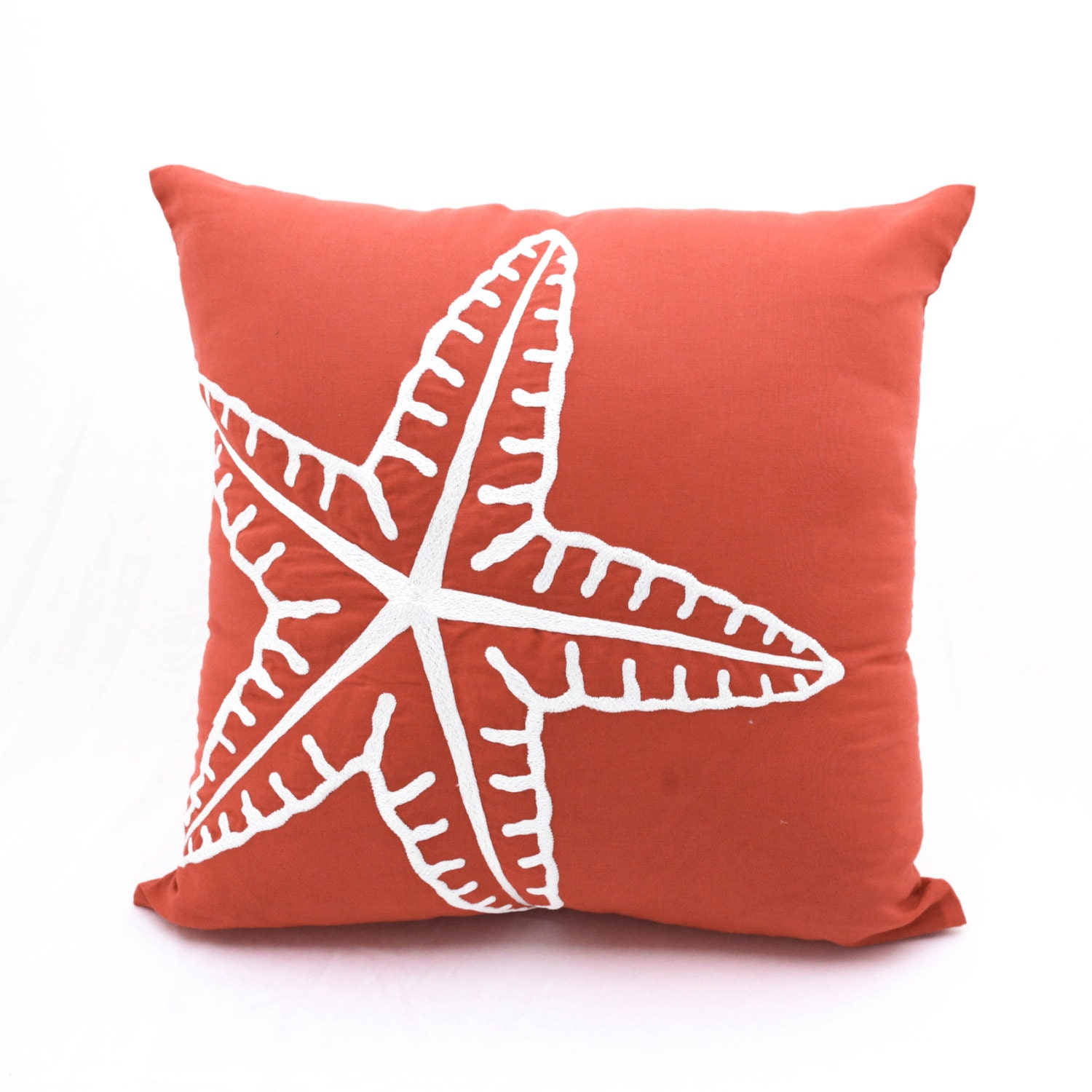 Starfish Pillow Cover Nautical Pillow Case Orange Linen