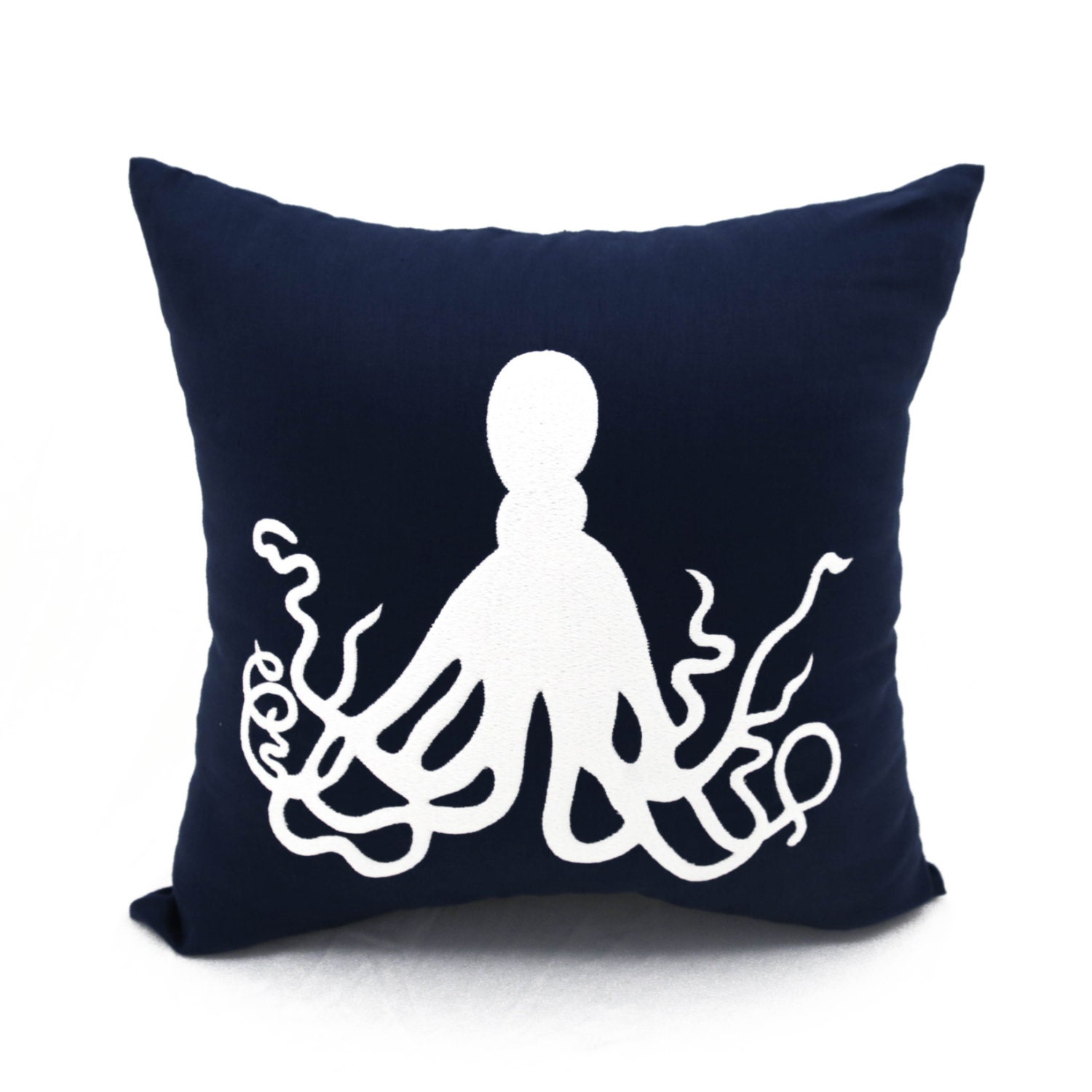Navy Blue Throw Pillow Covers : Octopus Throw Pillow Cover Navy Blue Linen Pillow White