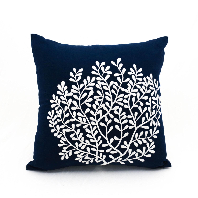 Navy Pillow Cover Coral pillow cover Nautical throw pillow.