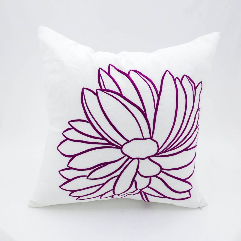 Decorative Flower Pillows : Flower Decorative Throw Pillow Cover White Linen Deep Purple
