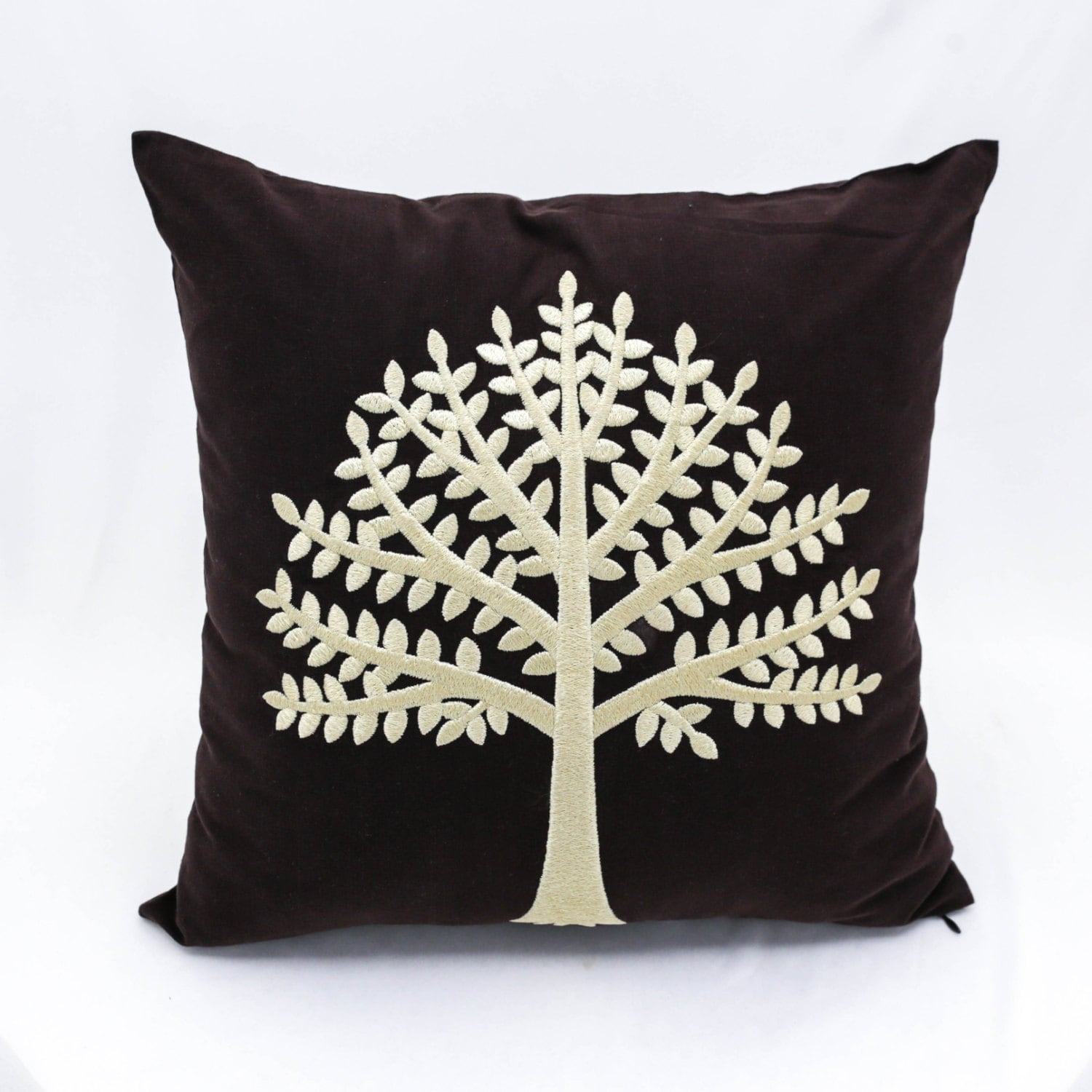 Tree Decorative Pillow Cover Dark Brown Linen Pillow Cream