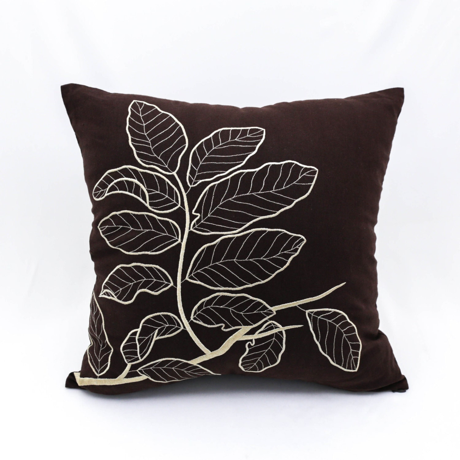 Brown Pillow Cover Leaves Throw Pillow Cover Dark Brown