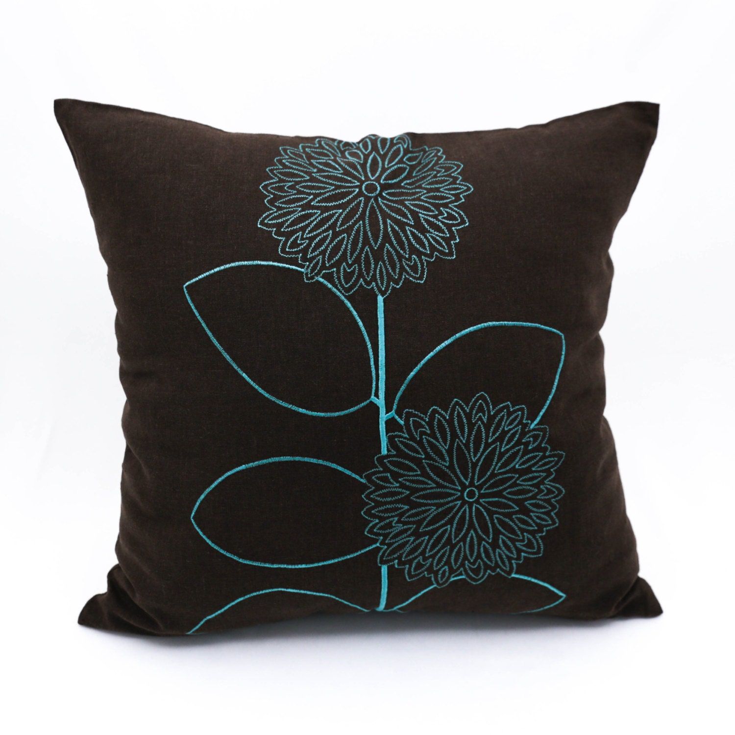 Teal Throw Pillow Cover Dark Brown Linen Pillow Floral