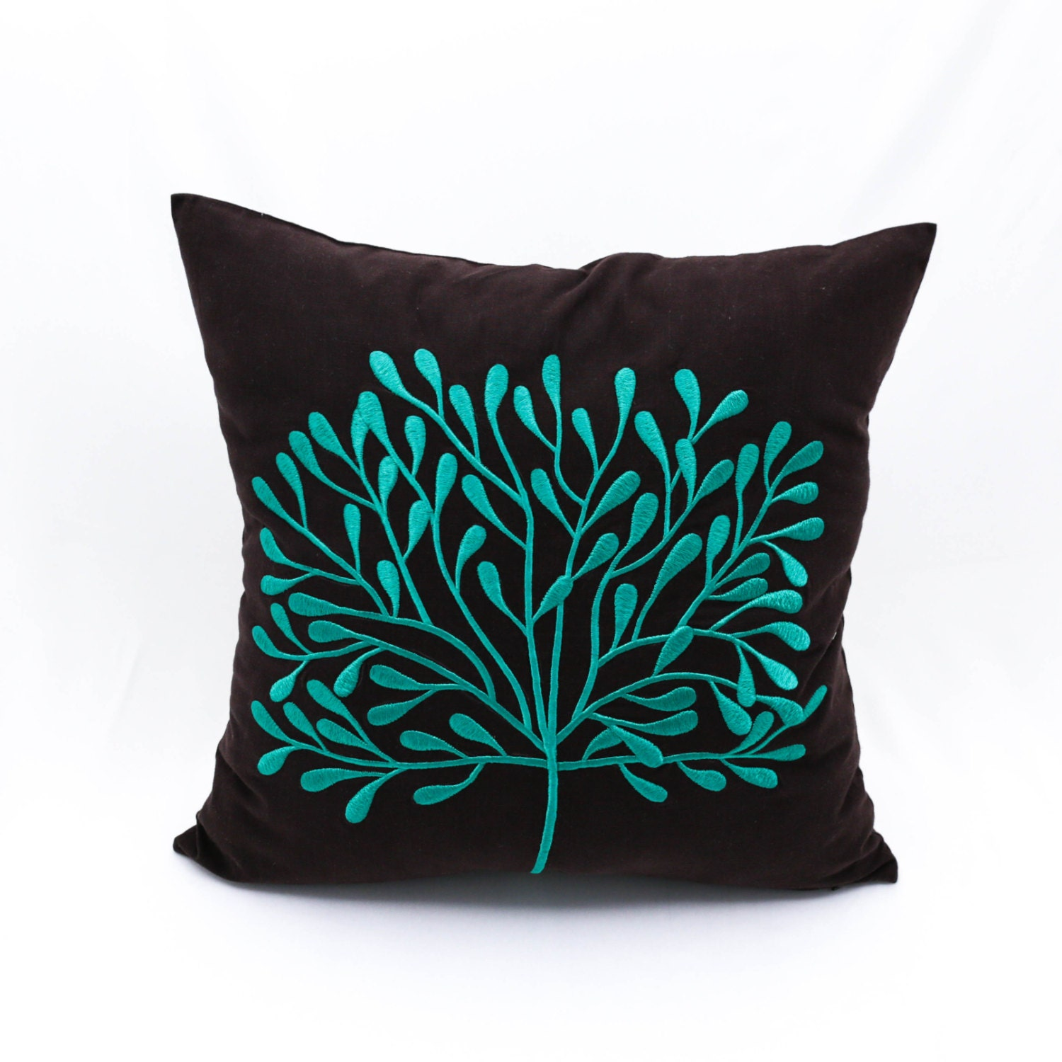 Dark Brown Throw Pillow : Teal Decorative Pillow Cover Home decor Dark Brown Linen