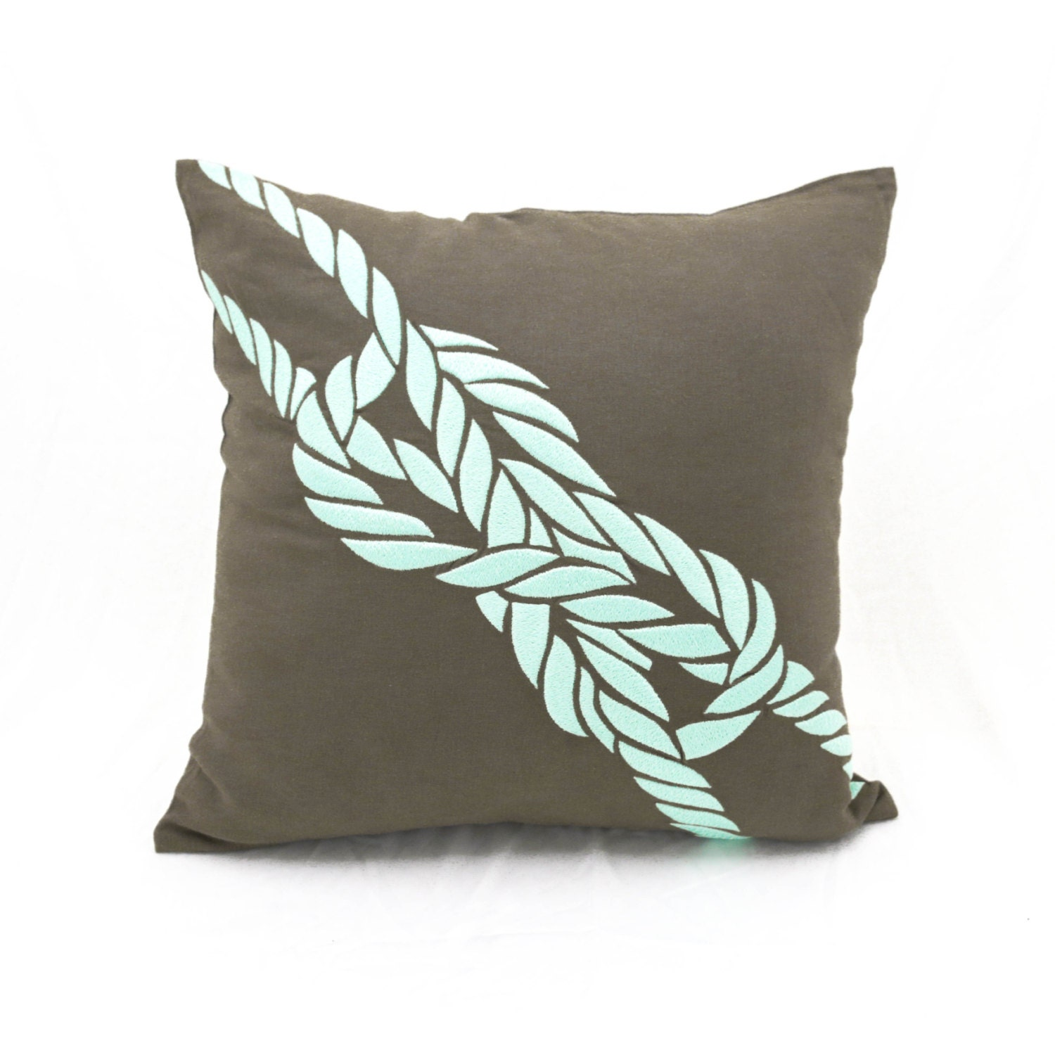 Nautical Coastal Throw Pillows : Rope Throw Pillow Cover Nautical Decor Taupe Brown Linen