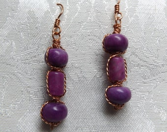Purple Fuschia Earrings My Original Design