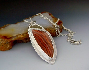 Banded Agate Necklace - Rust Orange Brown - Autumn Colors - Triangle shape necklace - OOAK - Sterling Silver - Fall Colors -Textured  Silver