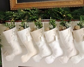 Dreamy White Christmas - Vanilla and Cream - Whites and Ivory - Snowy Neutral Christmas Stockings
