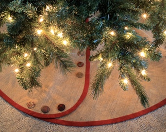 Extra Large Christmas Tree Skirt -- All Tailored, Buttoned-Up - Pick Your Banding and Buttons