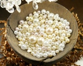 Set of 400 Round Plastic Faux Pearl Beads - Mixed Whites (Assorted Sizes: 2mm to 11mm)