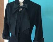 Hollywood Tea - 1940's Black Crepe and Taffeta Drop Waist Dress