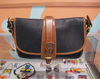 80s DOONEY & BOURKE Blue and Brown Leather Purse with Strap