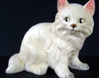 Vintage Fluffy White Cat Figurine late 1950's to early 1960's Clover Japan Mark Realistic Kitty Cat Collectible Home Decor Item